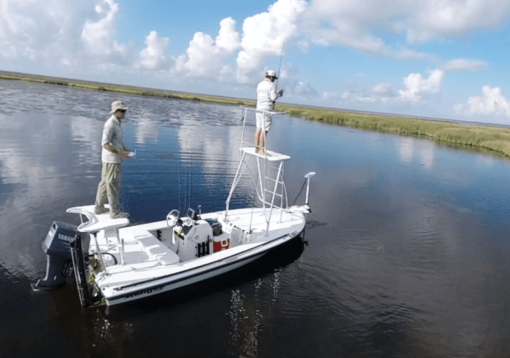 Ranger Boat Sightfishing for Redfish with Tower