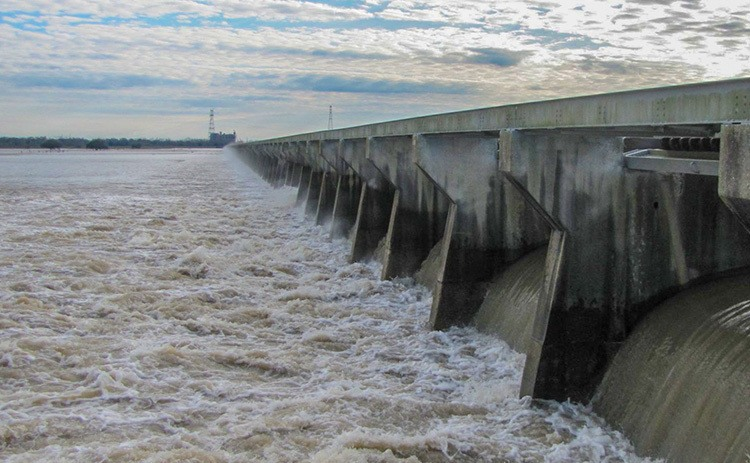 Where will clean water be after the spillway